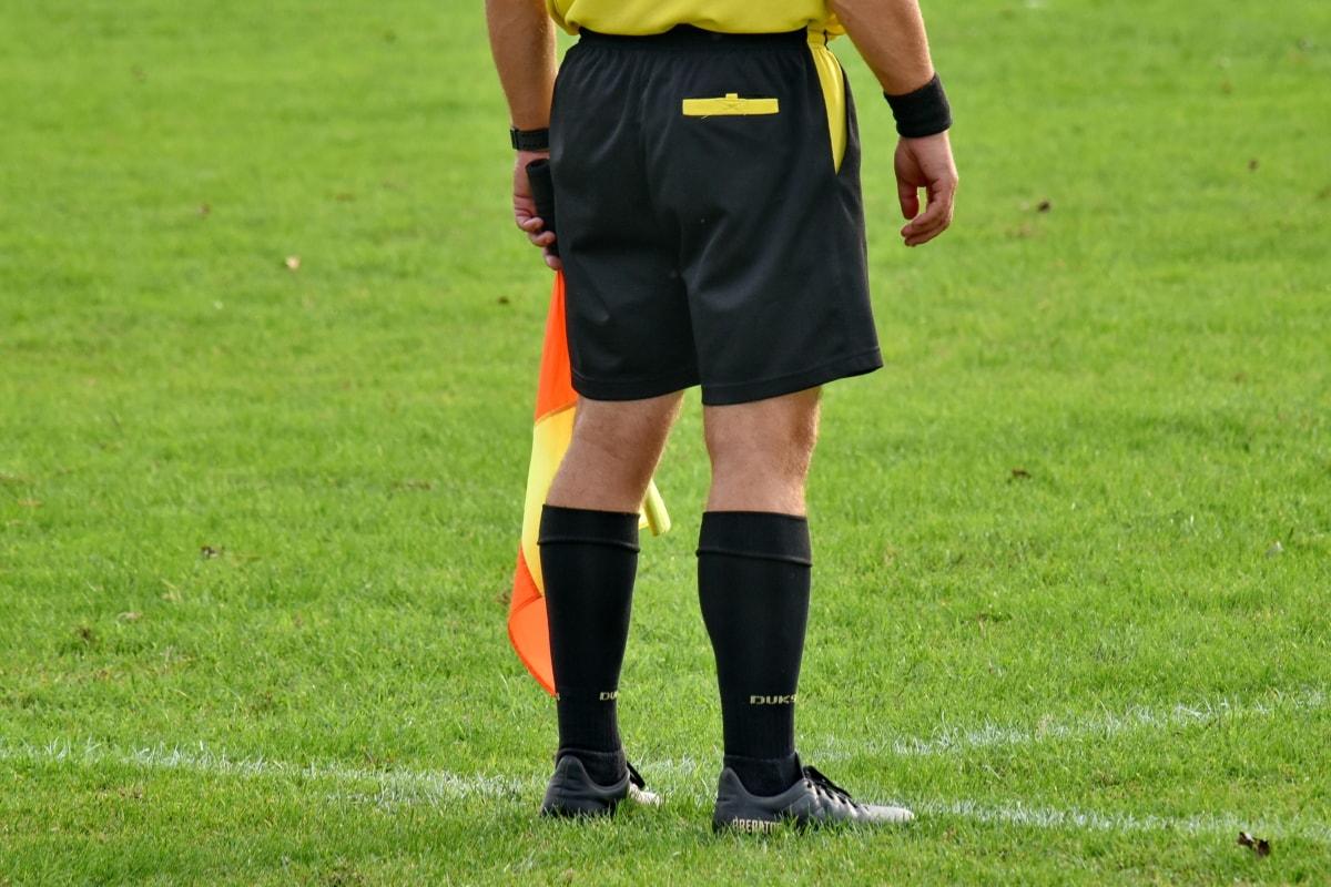 konkurence, pole, vlajka, fotbal, zelená tráva, soudce, tráva, fotbal, Sportovní, stadion