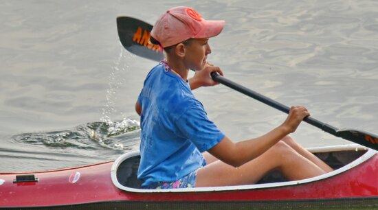 canoë-kayak, championnat, petite enfance, chapeau, rame, pagayer, eau, bateau, canoë, kayak