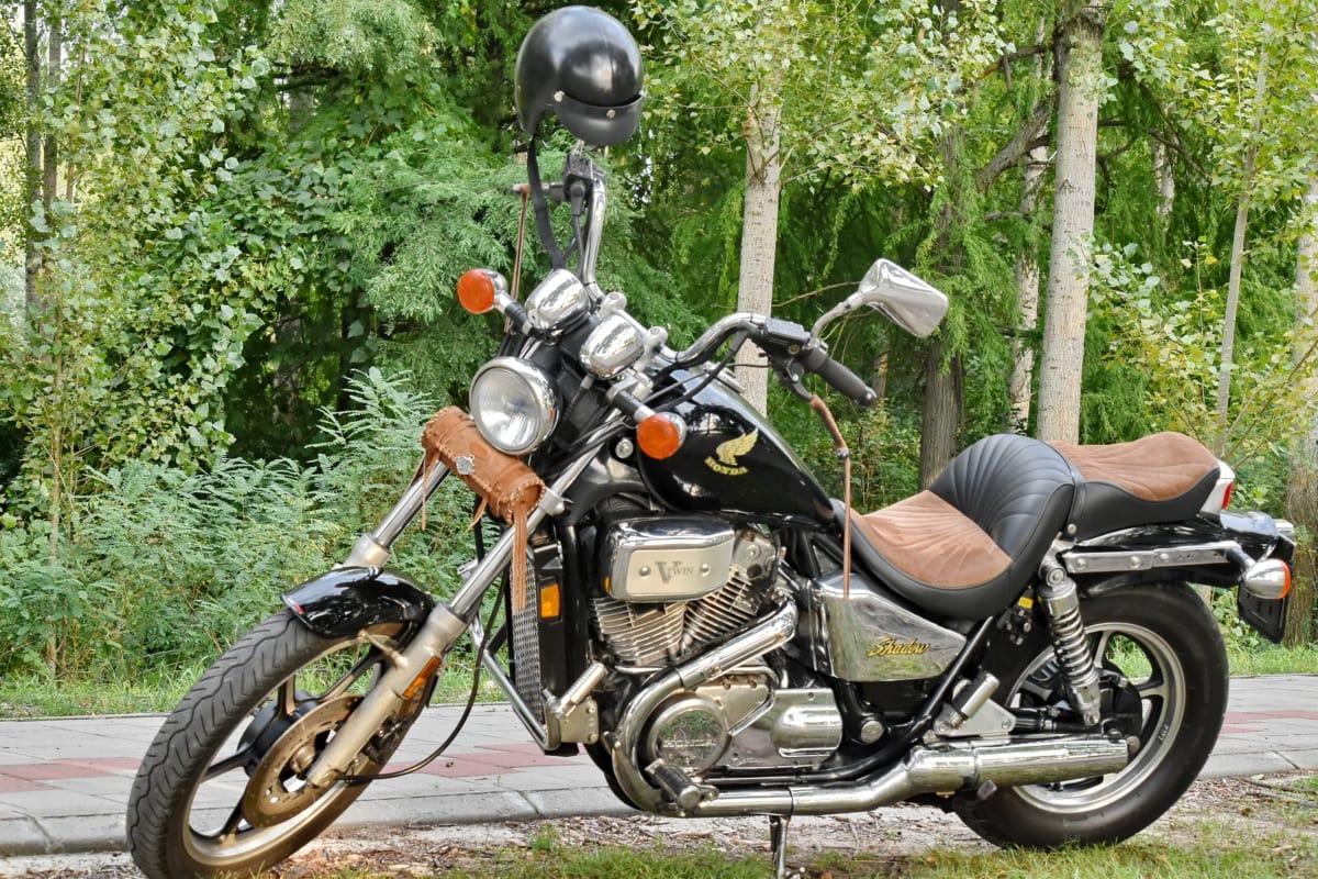 conveyance, famous, motorcycle, nostalgia, vintage, seat, motorbike, road, vehicle, helmet