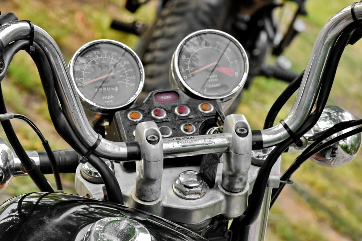 chrome, gauge, motorcycle, old fashioned, speedometer, steering wheel, transportation, gasoline, wheel, odometer