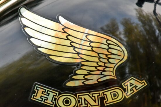 famous, japanese, motorcycle, sign, wings, outdoors, vehicle, retro, old, horizontal