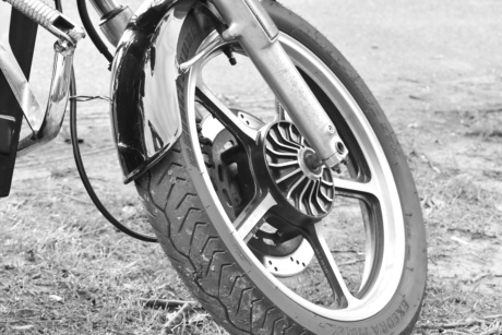 black and white, brake, tire, bike, device, wheel, vehicle, retro, vintage, chrome
