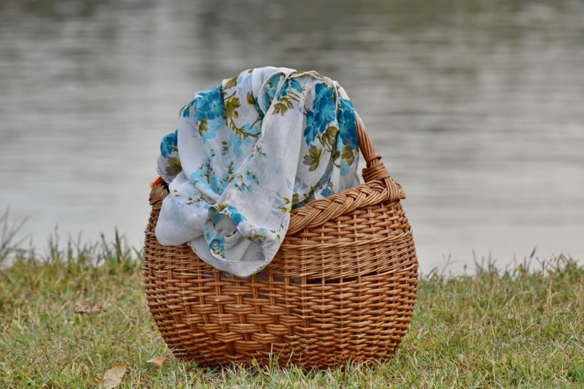 green grass, handmade, light brown, still life, textile, wicker basket, wicker, basket, nature, water