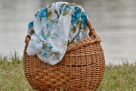 landscape, riverbank, summer season, textil, wicker basket, basket, container, wicker, nature, traditional