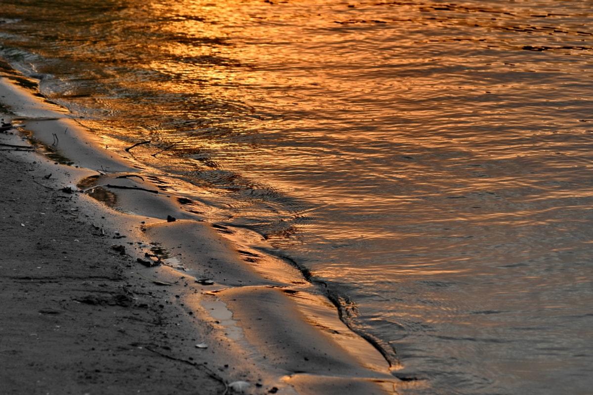 kystlinje, refleksjon, elvebredden, sand, solstrålene, vannstand, våte, kysten, jord, stranden
