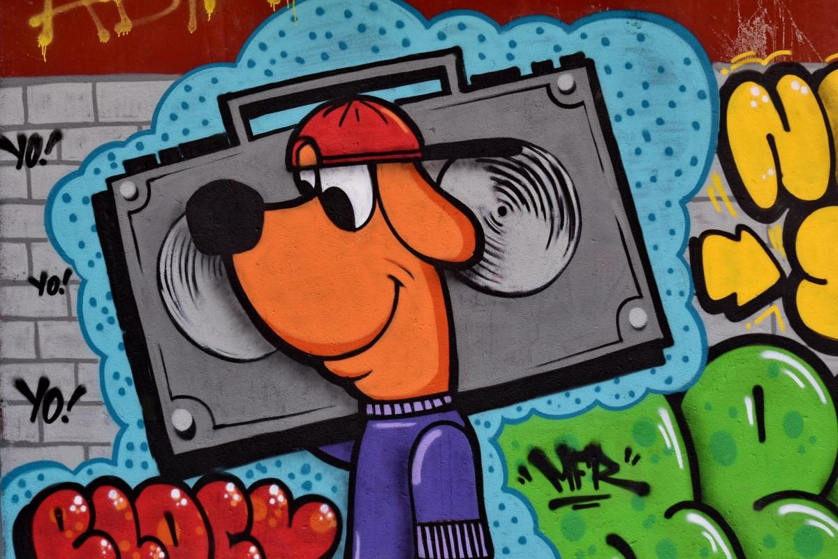 umenie, krásne foto, karikatúra, tvorivosť, pes, smiešny, graffiti, Hudba, Farba, dizajn