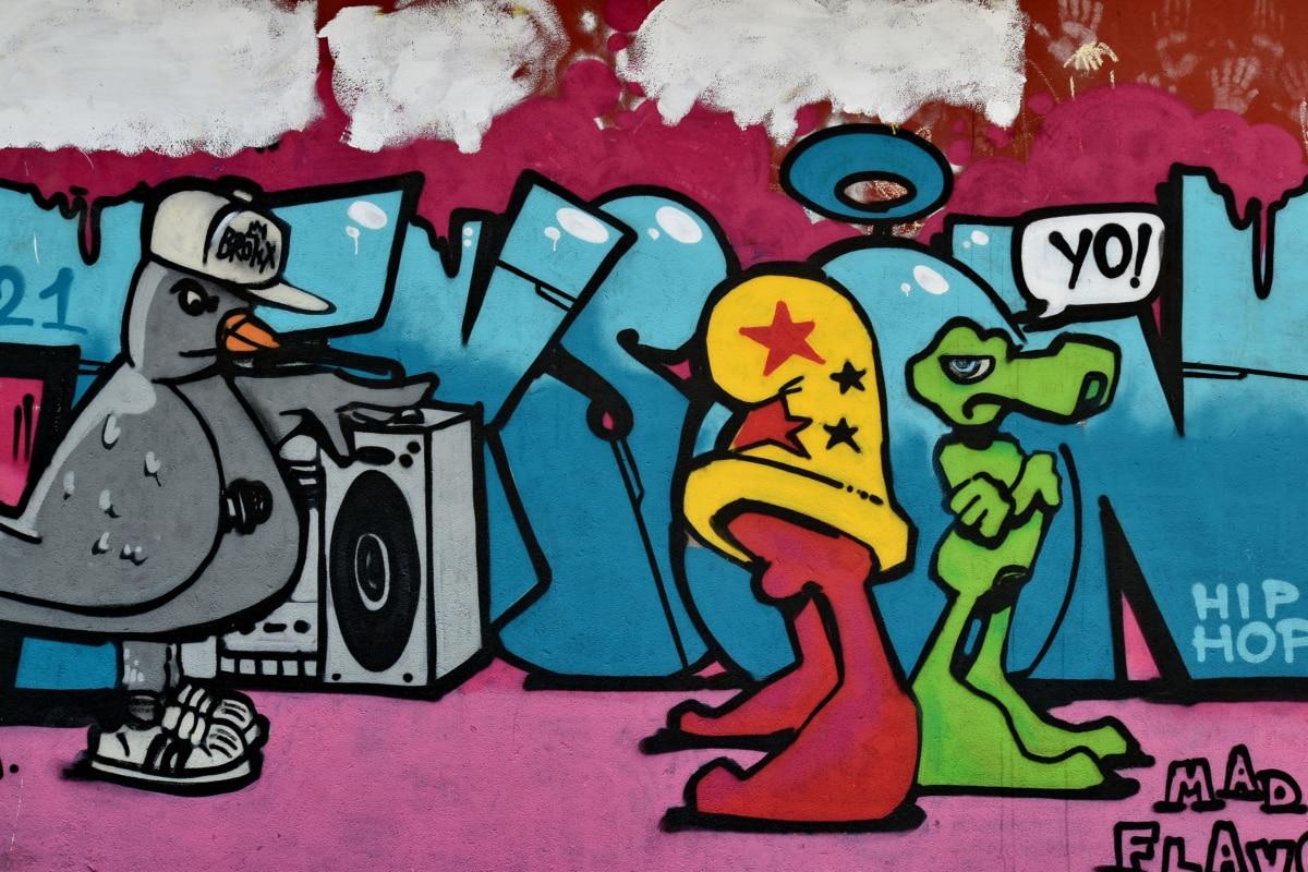 umjetnost, kreativnost, grafiti, ilustracija, poput zida, glazba, skica, vizualan dojam, crtani film, boja