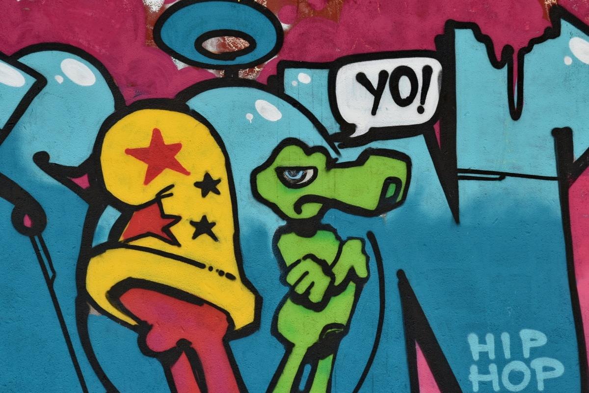 kleurrijke, creativiteit, graffiti, decoratie, vandalisme, plezier, illustratie, kunst, schrijven, onderwijs