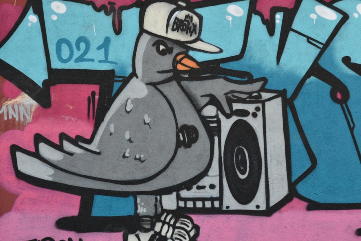 ptica, grafiti, glazba, skica, dekoracija, retro, vandalizam, ilustracija, umjetnost, zabava