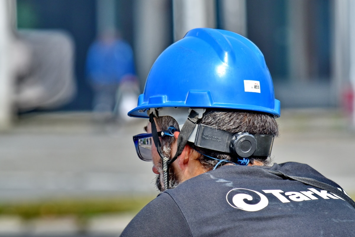 eyeglasses, profile, urban area, helmet, clothing, safety, street, security, action, industry