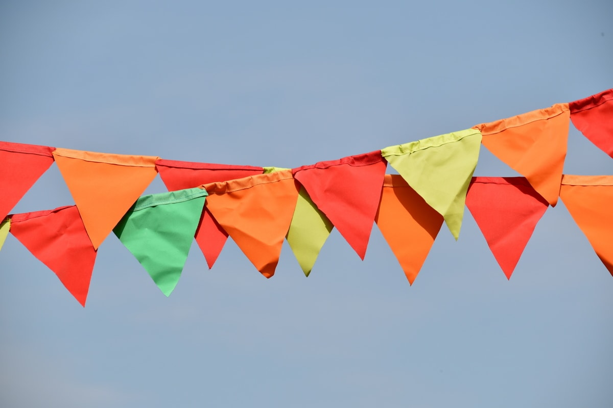 clothesline, colorful, decoration, festival, flag, rope, hanging, wind, blue sky, many