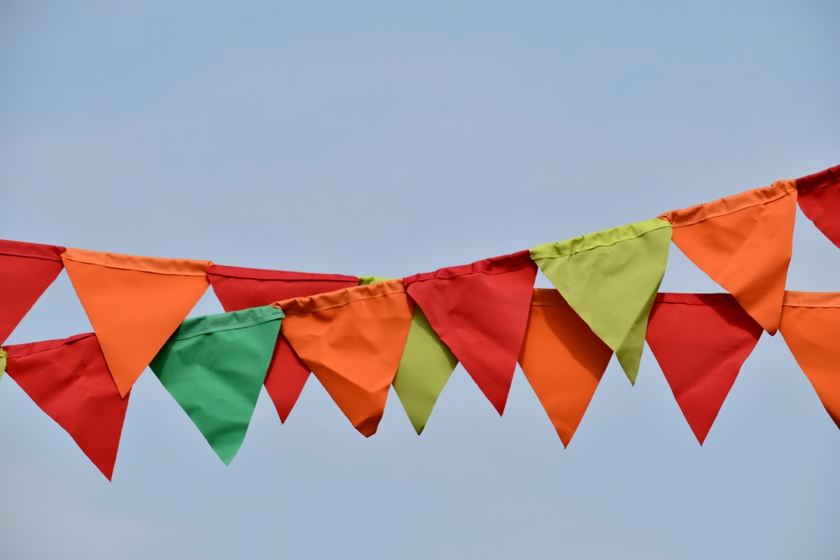 blue sky, carnival, colorful, decoration, festival, flag, rope, wind, hanging, fun