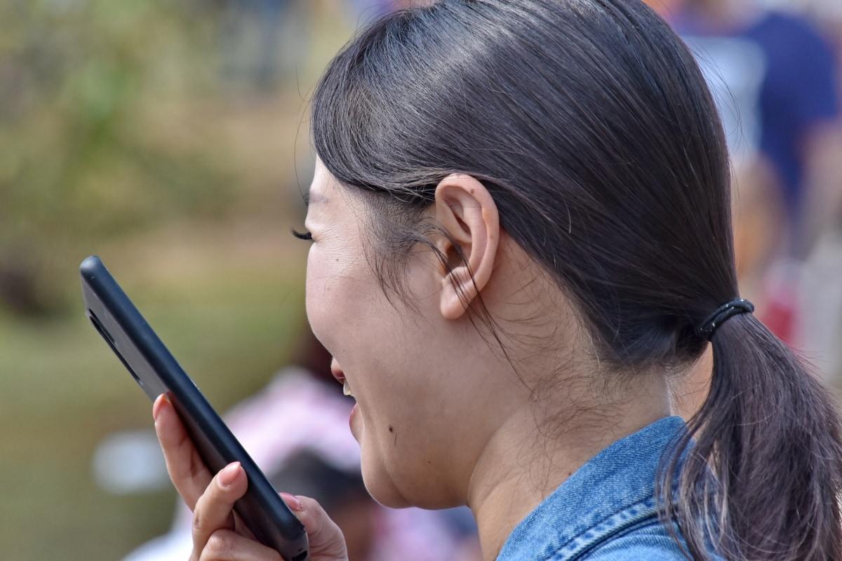 Asiatiska, konversation, frisyr, mobiltelefon, porträtt, Snygg tjej, leende, kvinna, telefon, Flicka