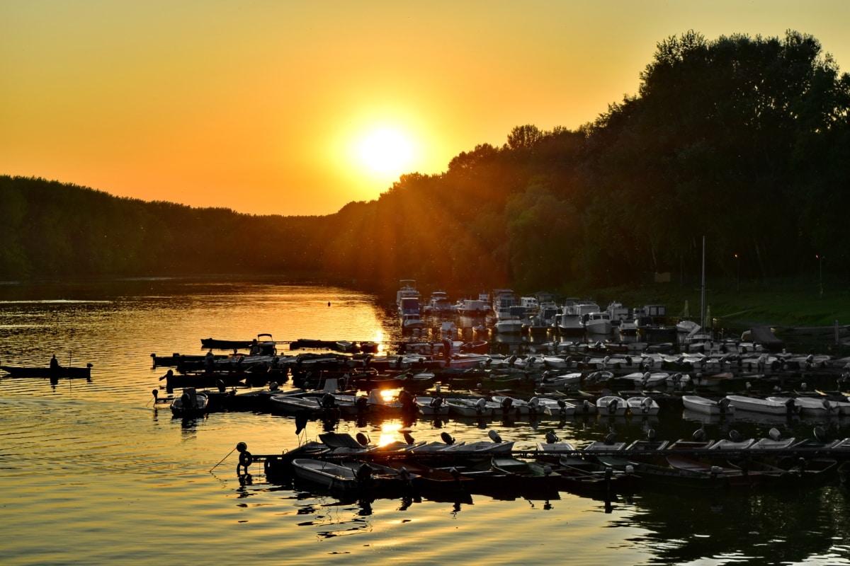 boats, river, sunrise, sunshine, water, shore, dawn, lakeside, beach, sun