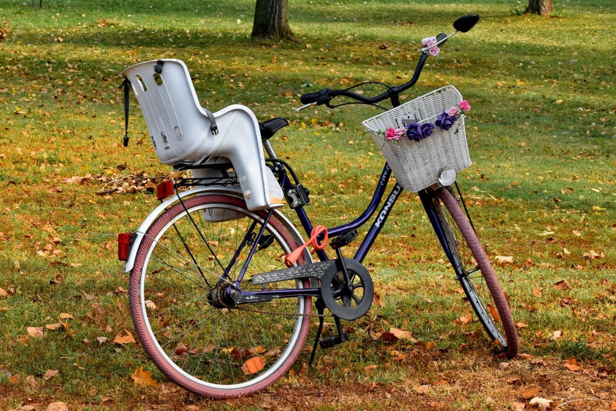 ποδήλατο, διακοσμητικά, δάσος, νοσταλγία, Ρομαντικές αποδράσεις, ψάθινο καλάθι, χλόη, σε εξωτερικούς χώρους, το καλοκαίρι, φύση