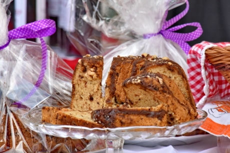 baked goods, cake, dessert, gifts, handmade, pastry, slices, wicker basket, homemade, food