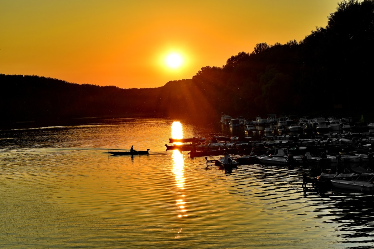 perahu, nelayan, jeruk kuning, siluet, sinar matahari, matahari terbit, matahari, bintang, Fajar, air