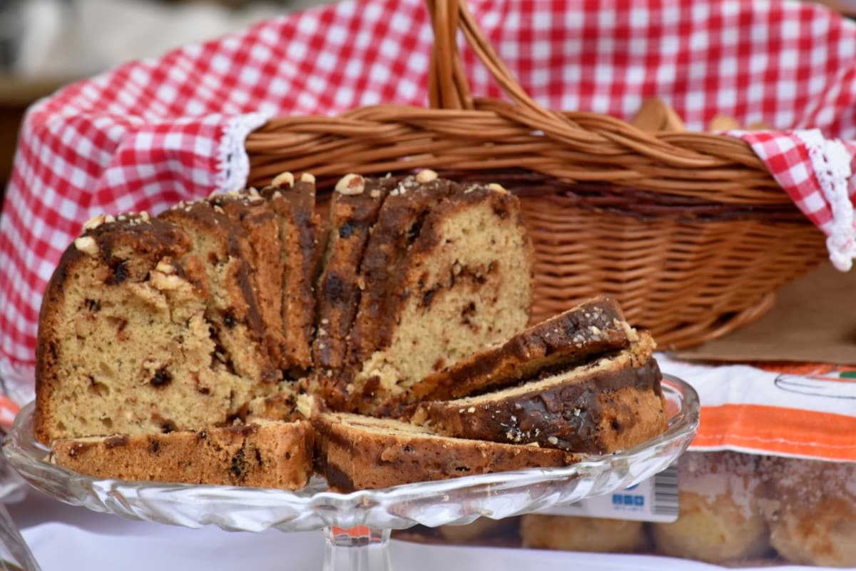 cake, condiment, dessert, handmade, pastry, picnic, still life, wicker basket, homemade, delicious