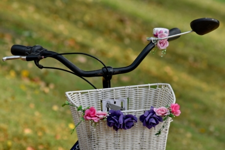 bicycle, romantic, steering wheel, wicker basket, container, wicker, summer, nature, leisure, outdoors