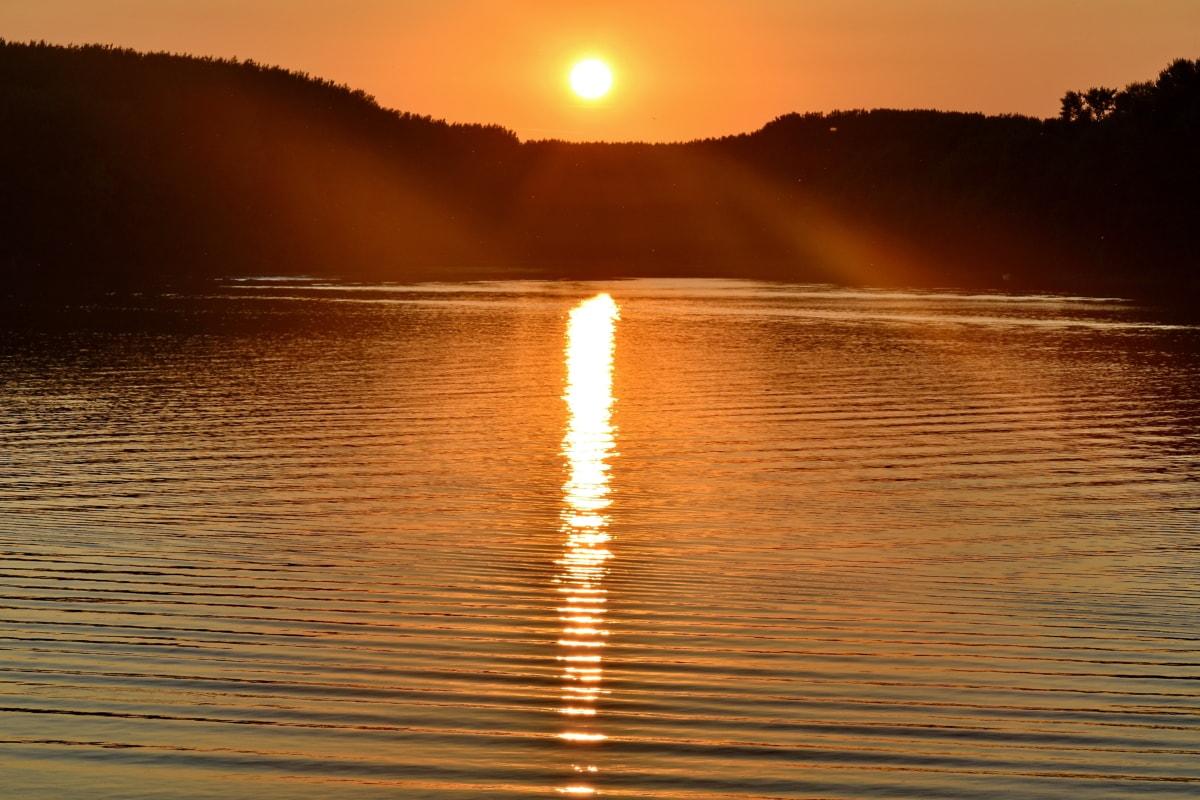 nationalparken, skugga, solstrålar, solfläck, vatten, soluppgång, hav, stjärnigt, solen, havet