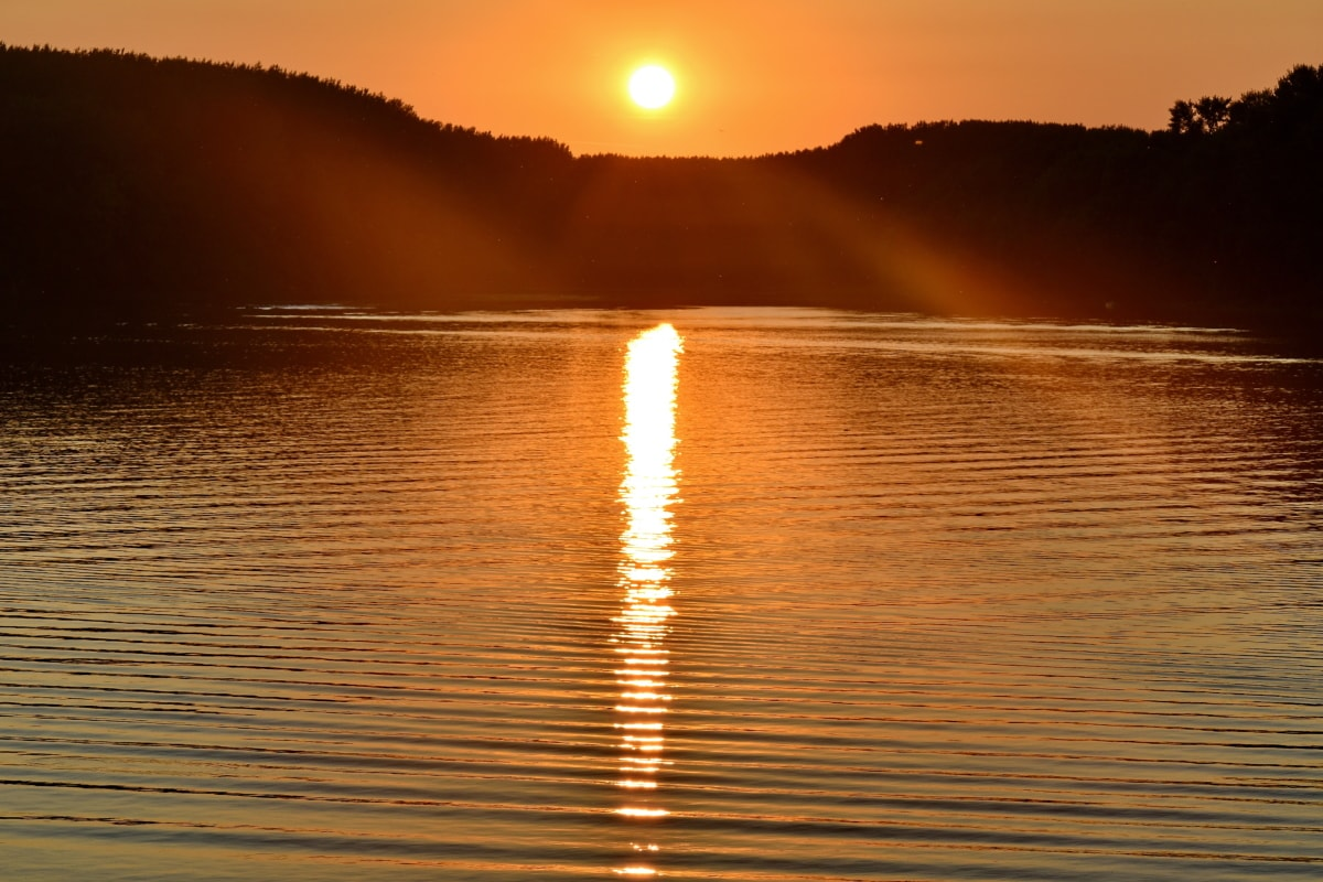 национален парк, сянка, слънчевите лъчи, слънчевите, вода, изгрев, океан, звезда, слънце, море