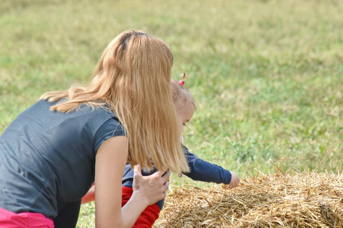 baby, cheerful, farmland, gorgeous, happiness, mother, photo model, portrait, pretty girl, summer season