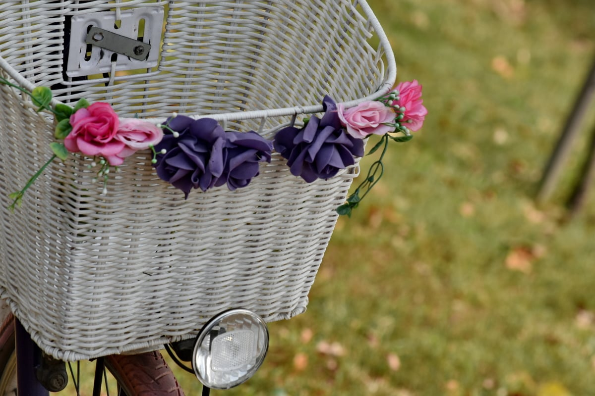 bicycle, decoration, flowers, headlight, still life, basket, flower, nature, container, wicker