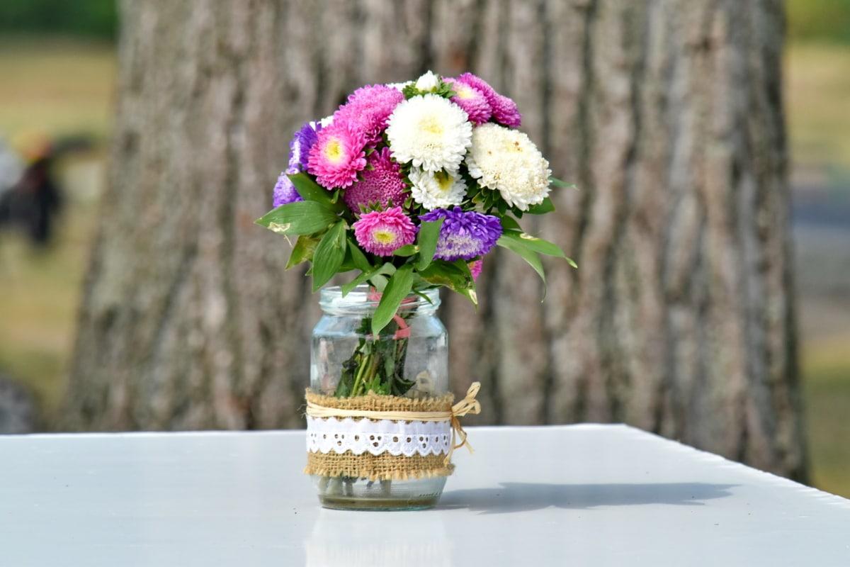 花束, 装飾, ガーデン, jar, 昔ながら, 花瓶, ヴィンテージ, 花, 配置, 花