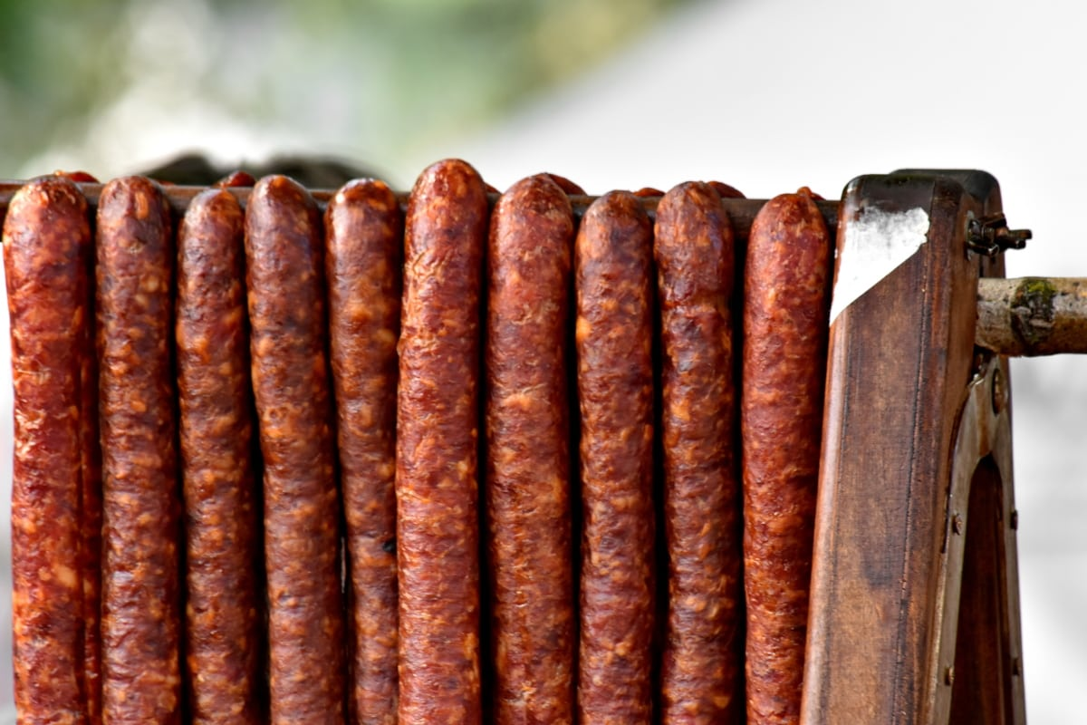 kobasica, svinjetina, sirovo meso, kobasica, hrana, drvo, na otvorenom, govedina, retro, meso