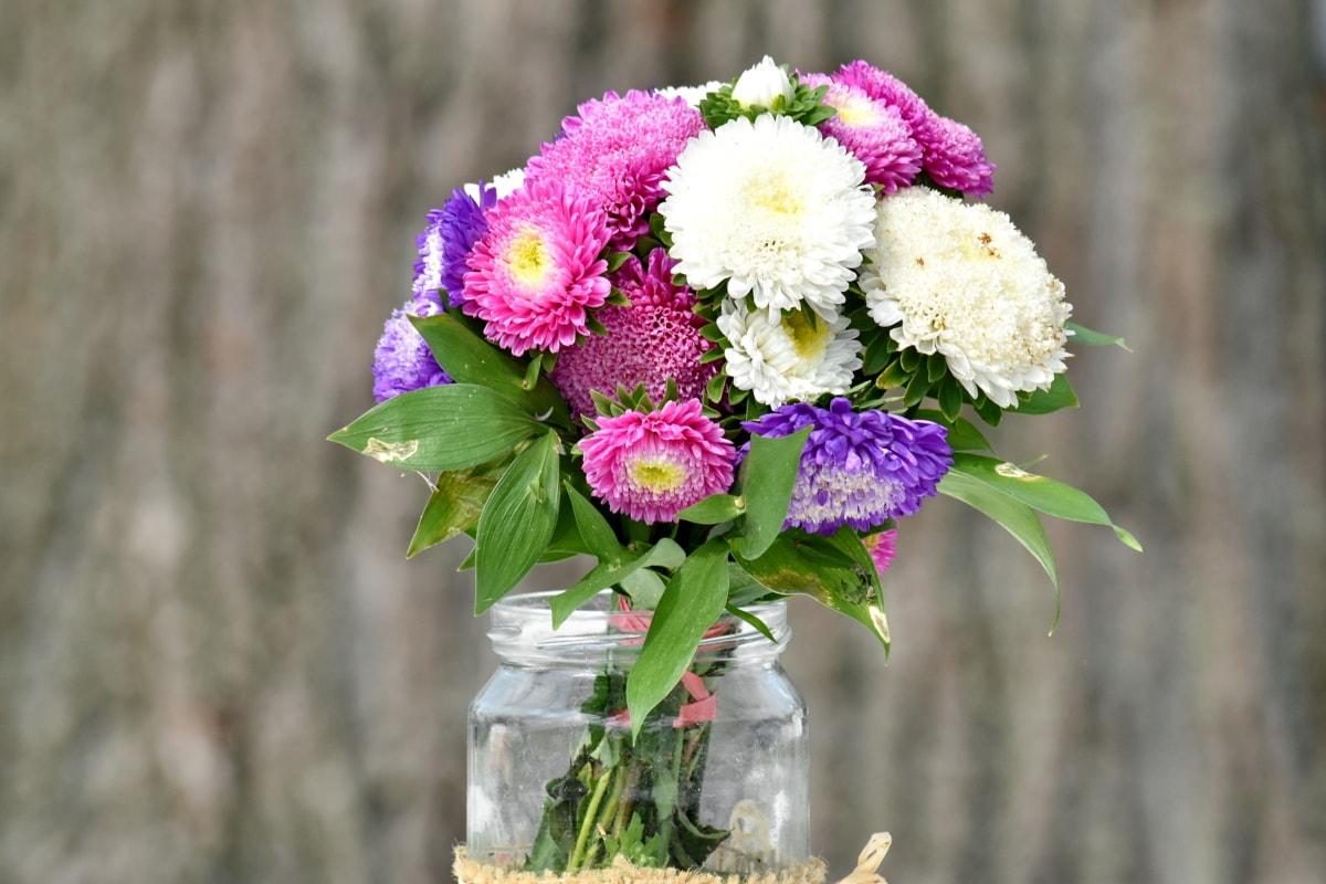 скляна банка, романтичний, Ваза, прикраса, букет, квіти, квітка, рожевий, Композиція, природа