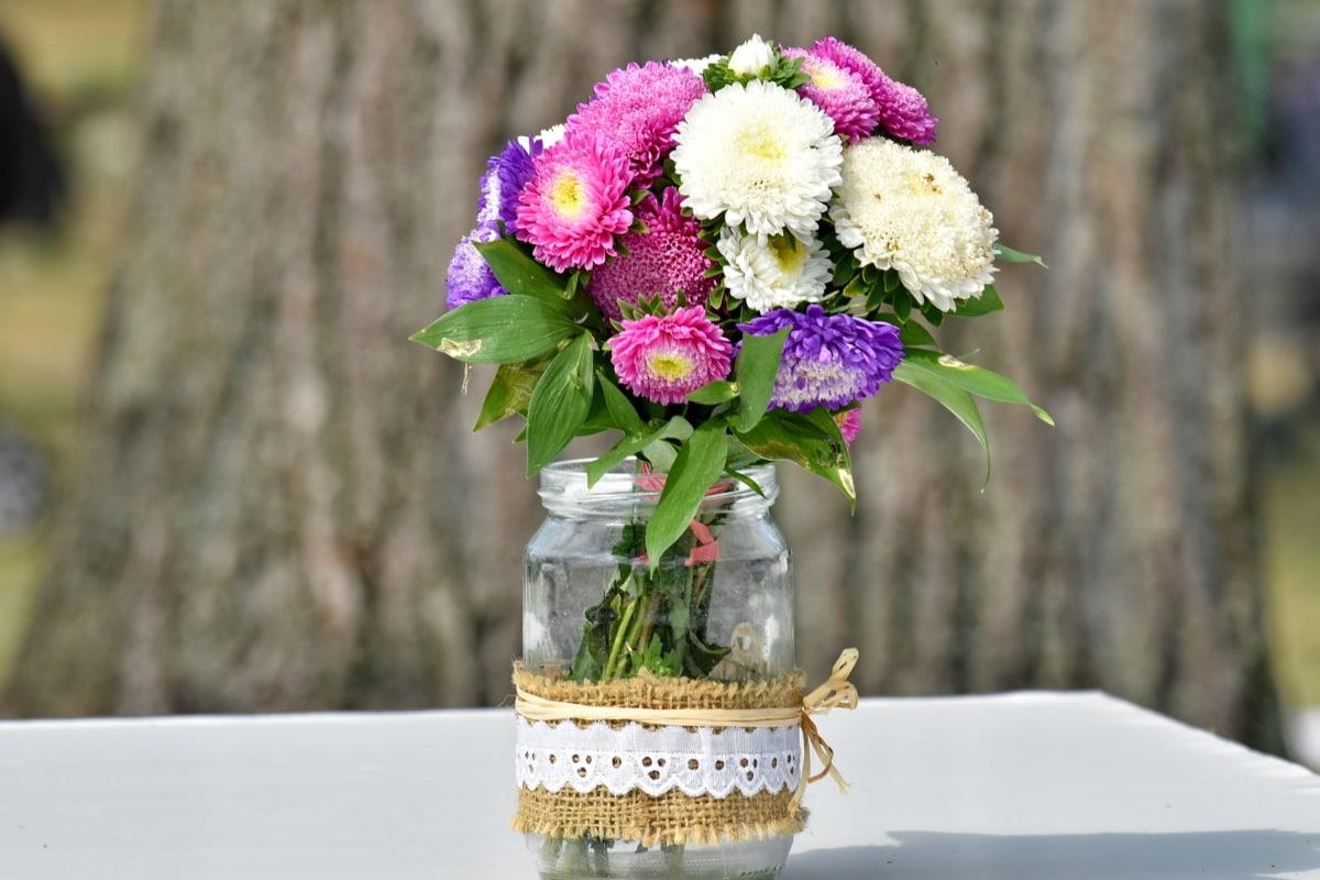 bukett, dekorative, skrivebord, krukke, romantisk, skygge, ordningen, vase, dekorasjon, blomster