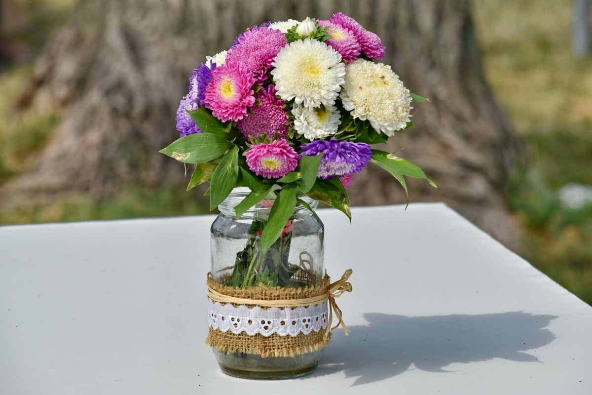 pengaturan, foto yang indah, karangan bunga, dekorasi, Jar, Di luar ruangan, vas, alam, bunga, bunga