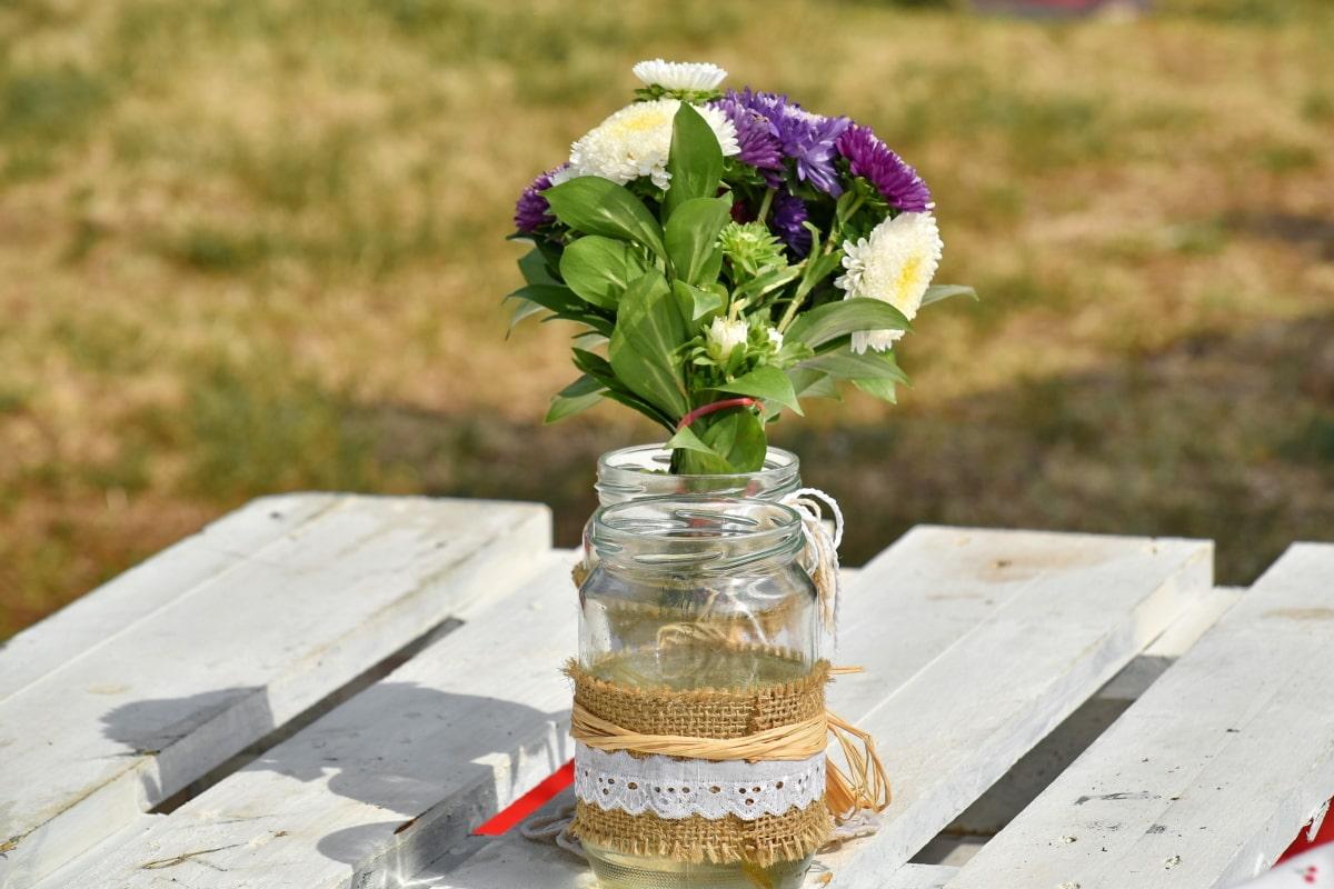 Букет, стол, летний сезон, кувшин, цветок, Ваза, Природа, Лето, на открытом воздухе, Флора