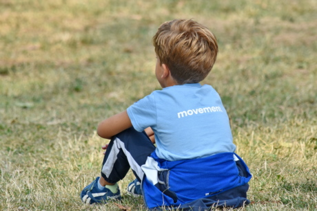 beautiful photo, boy, outfit, profile, sitting, summer season, outdoors, child, grass, nature