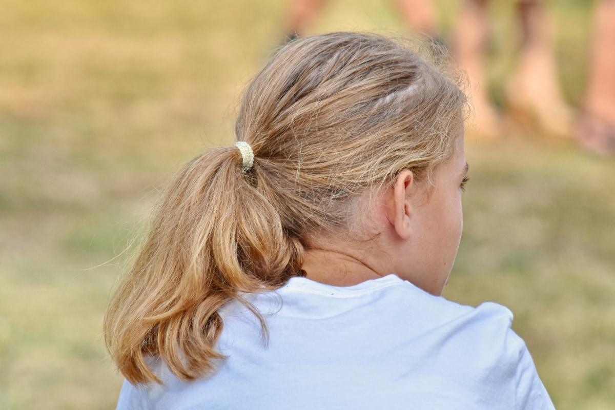 plavuša, Prekrasna, frizura, radost, lijepa djevojka, opuštanje, trava, na otvorenom, dijete, sretan