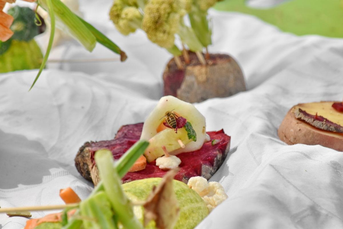 pčela, sastojci, kukac, povrće, predjelo, ploča, salata, obrok, hrana, večera