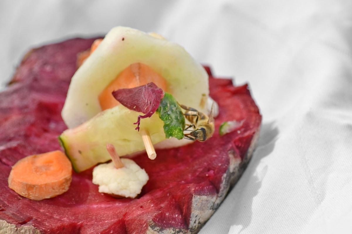 bi, rödbeta, dekoration, Garnera, insekt, sallad, salladsbar, skiva, grönsaker, måltid
