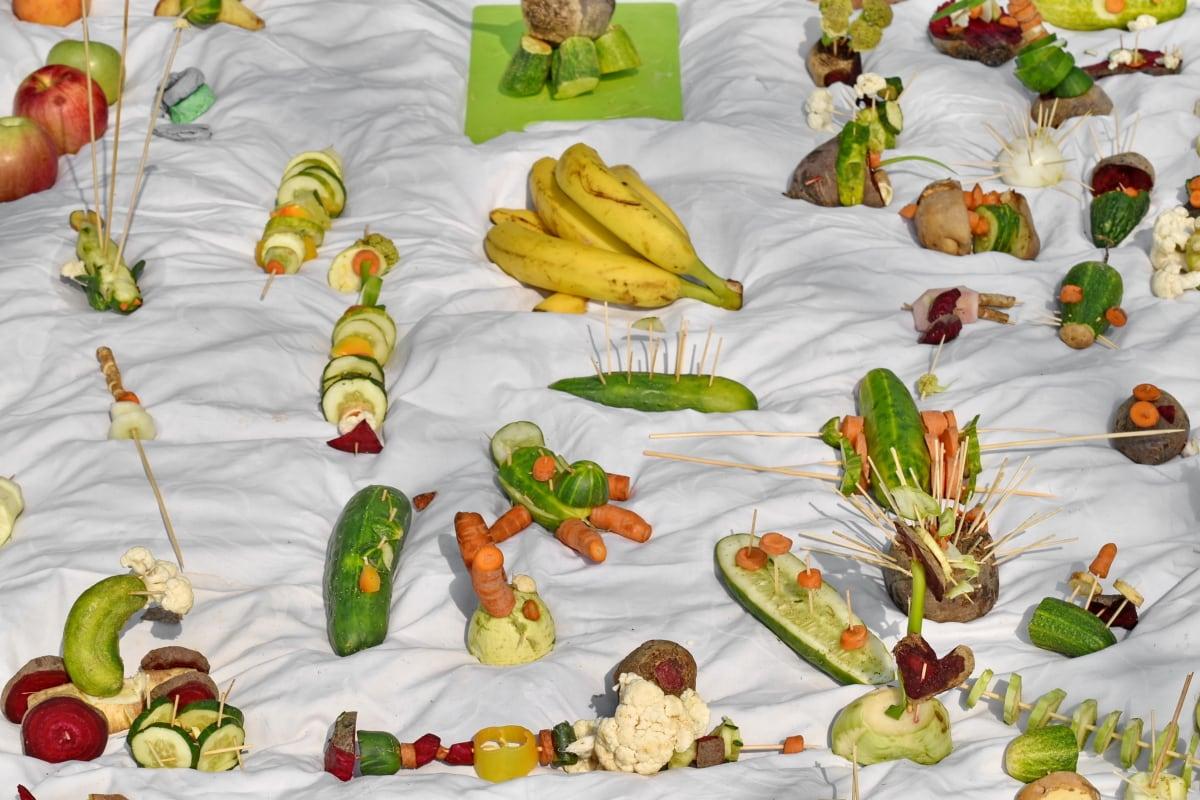 장식, 음식, 손수건, 식사, 과일, 야채, 건강, 저녁 식사, 맛 있는, 많은