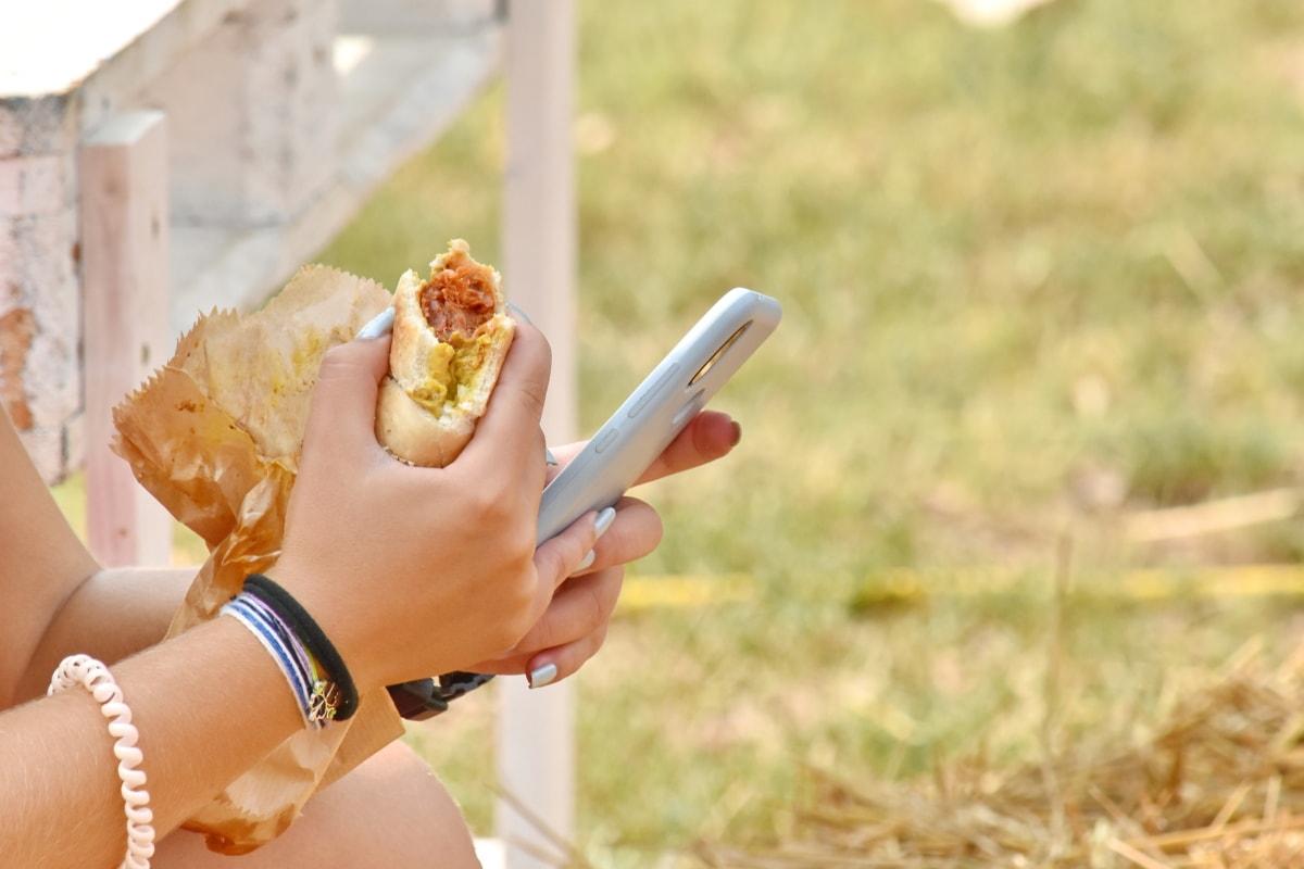 fân, telefon mobil, sandwich, vara, tehnologie, în aer liber, femeie, natura, alimente, fată