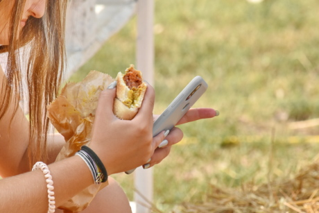 fast food, hands, mobile phone, sandwich, outdoors, woman, summer, nature, girl, pretty
