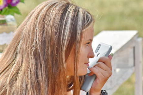 attractive, face, girl, hair, hand, mobile phone, picnic, summer, think, pretty