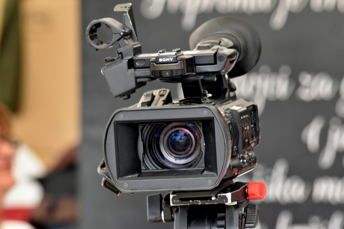 film, focus, journalism, lens, television, tripod, device, equipment, camera, projector