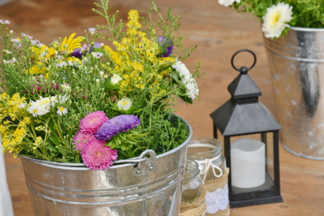 bucket, candle, flowers, jar, plant, flower, nature, aromatherapy, vase, summer