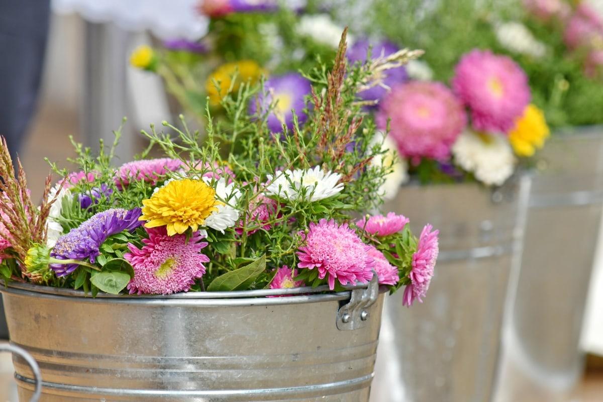 Anordnung, Blumenstrauß, Eimer, Blumen, Metall, Blume, Sommer, Anlage, Rosa, Blatt