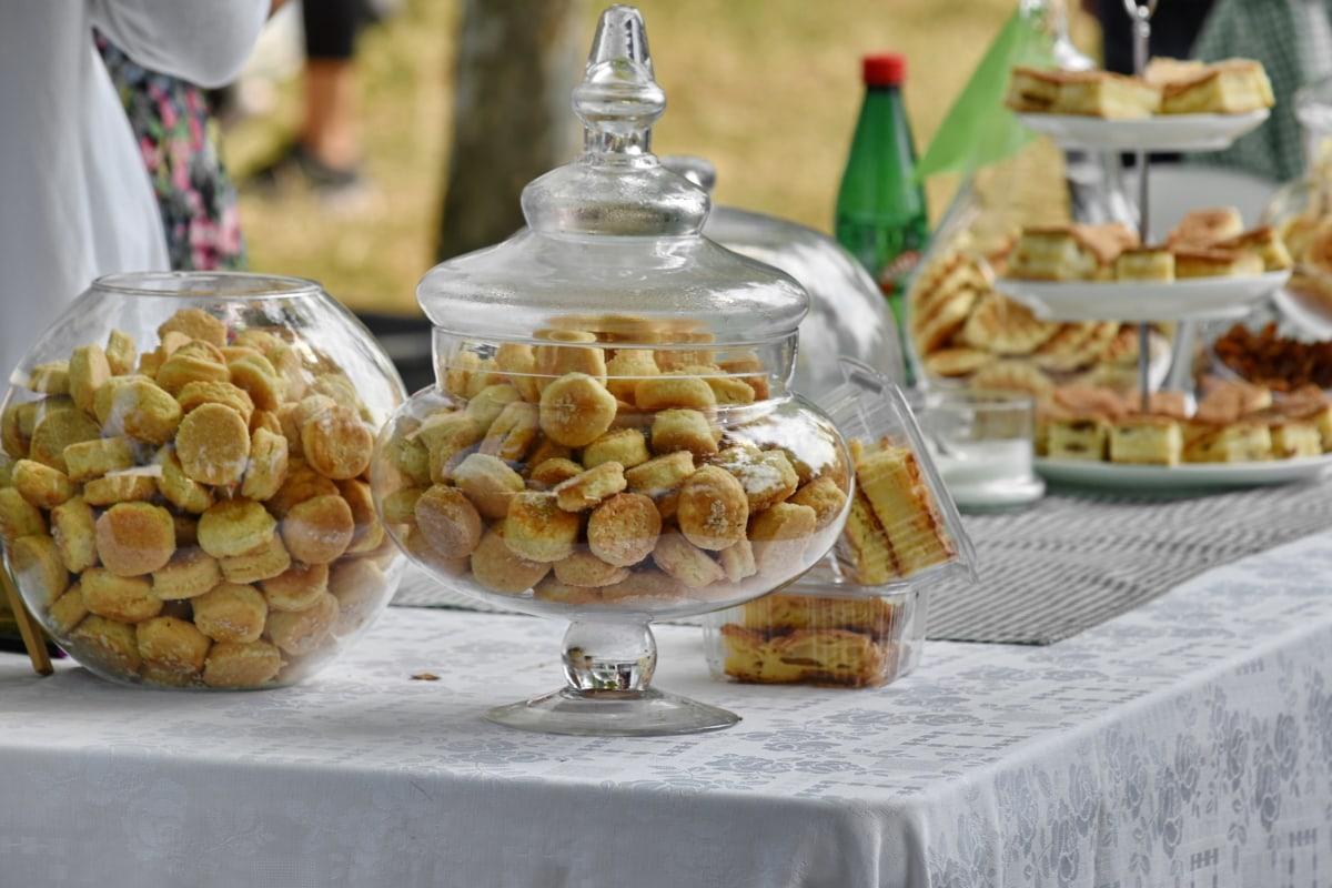bens cozidos, biscoitos, piquenique, doce, utensílios de mesa, comida, tabela, refeição, tradicional, glass