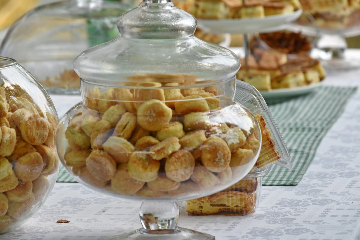 baked goods, container, glass, picnic, transparent, food, sweet, traditional, delicious, healthy