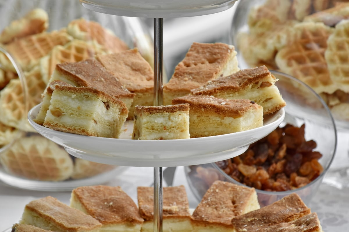 baked goods, cookies, dessert, dishes, pastry, waffle, plate, breakfast, delicious, meal