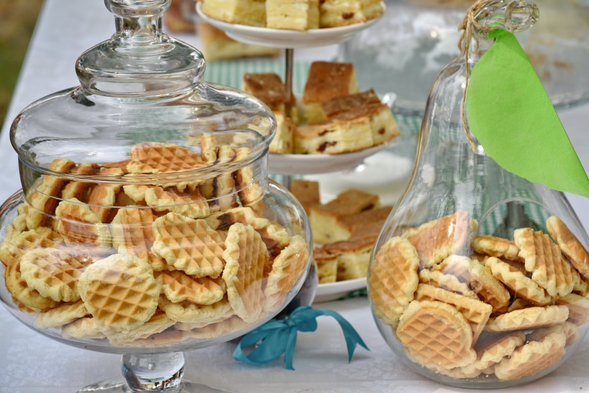 beautiful photo, bowl, cookies, decoration, glass, merchandise, food, meal, breakfast, delicious