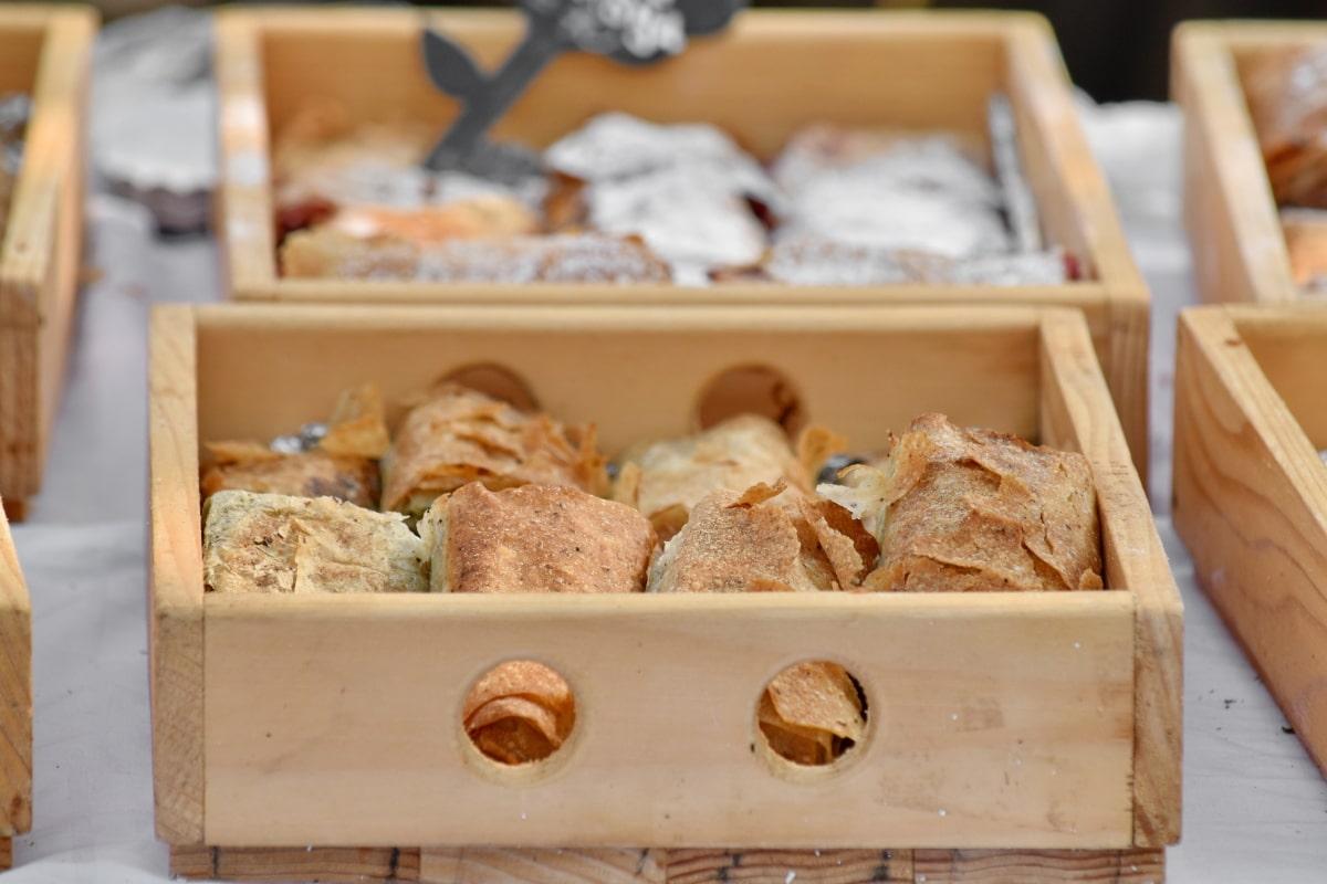 bens cozidos, fermento em pó, caixas, comida, pastelaria, madeira, loja, de cozimento, caseiro, delicioso