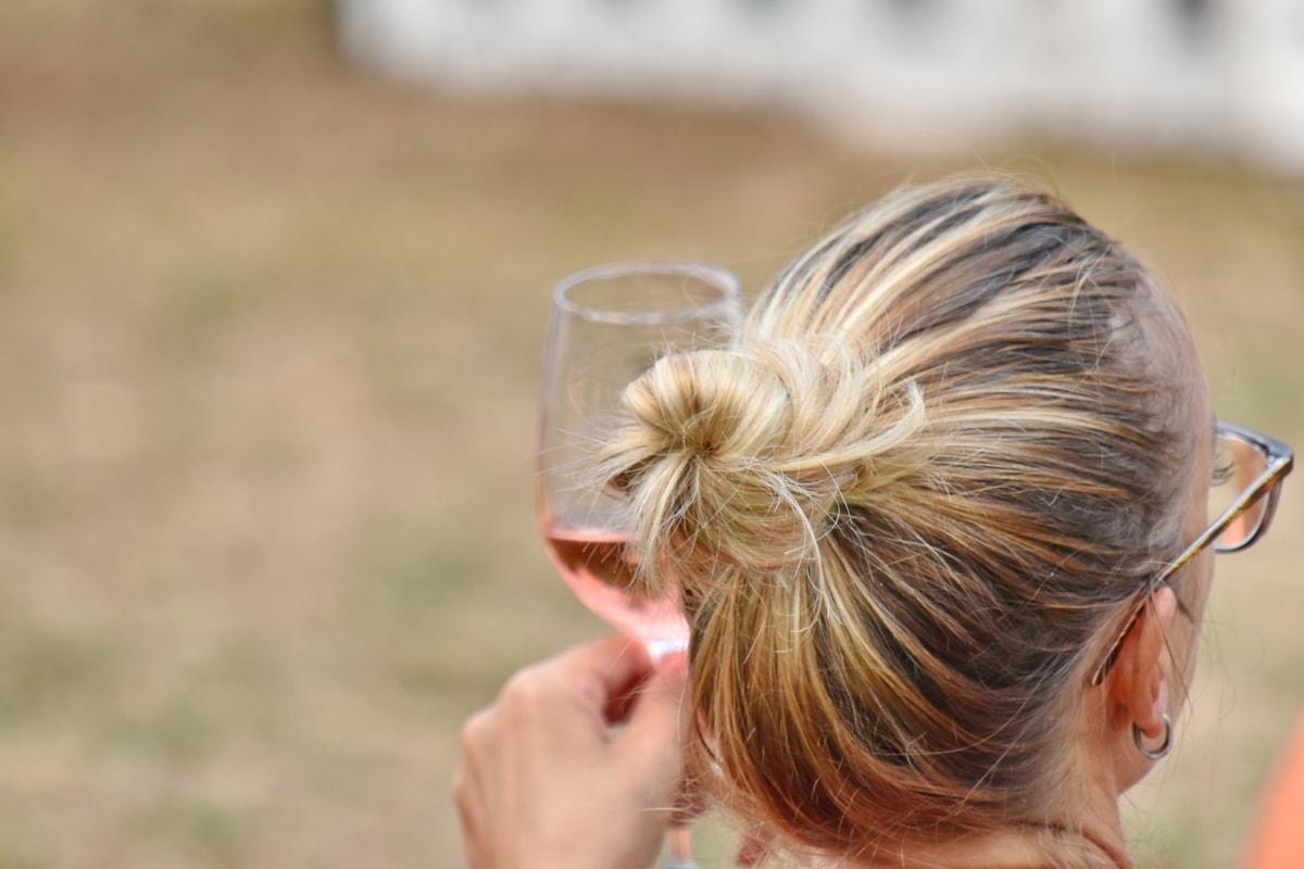 enjoyment, eyeglasses, glass, hairstyle, hand, portrait, pretty girl, wine, outdoors, nature